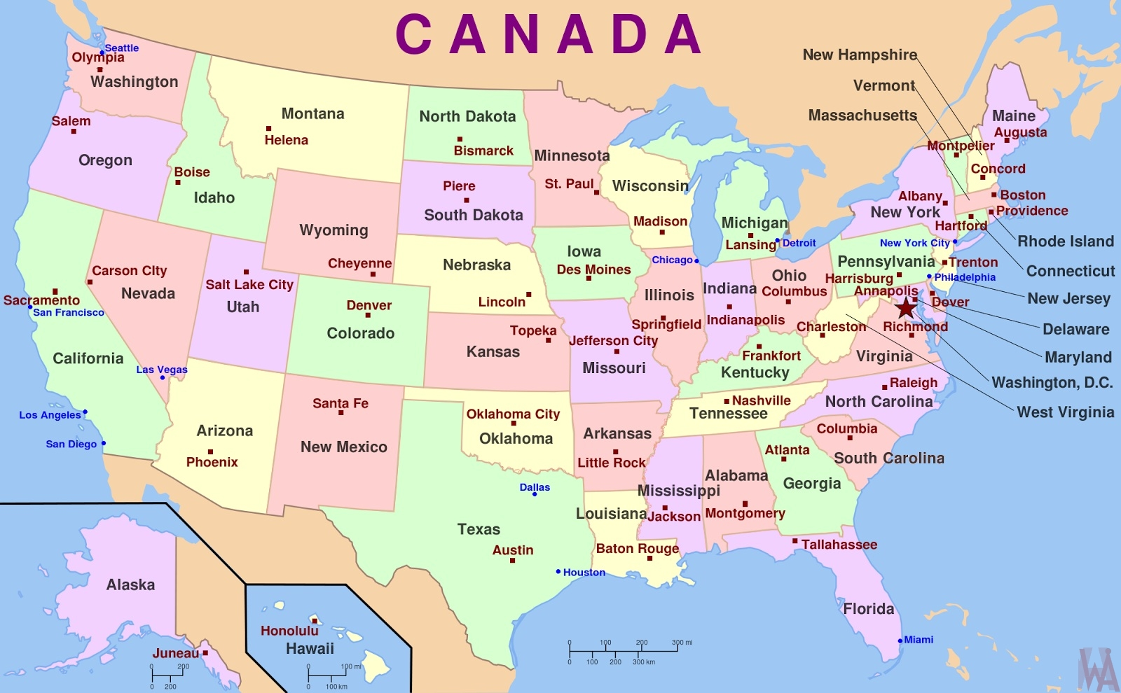 General Maps Of The USA | WhatsAnswer