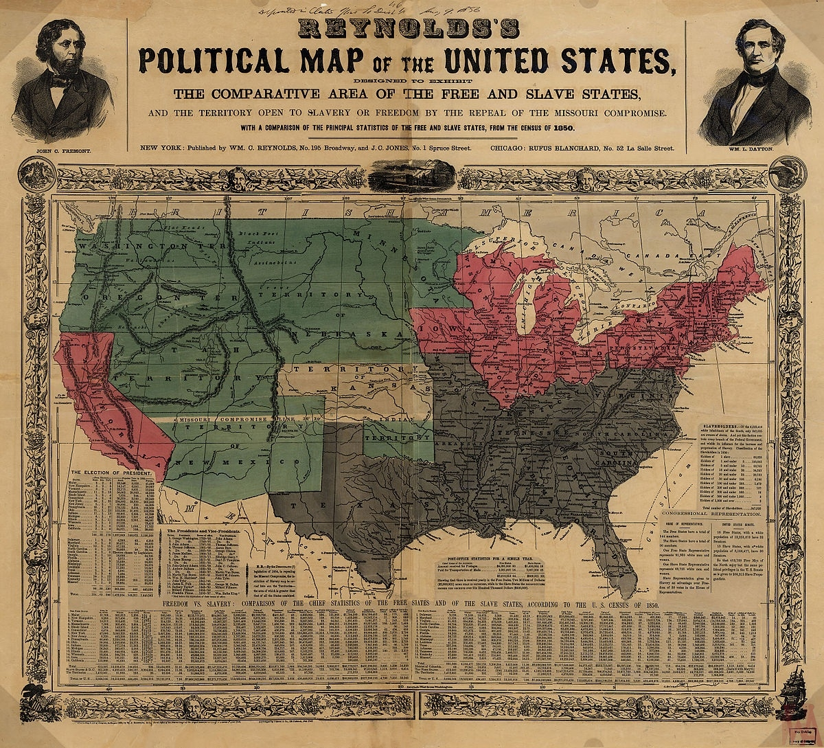 Reynolds\'s Political and Historical Map of the United States 1856 ...