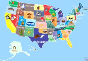 State Wise Major Tourist Attractions Map of the USA