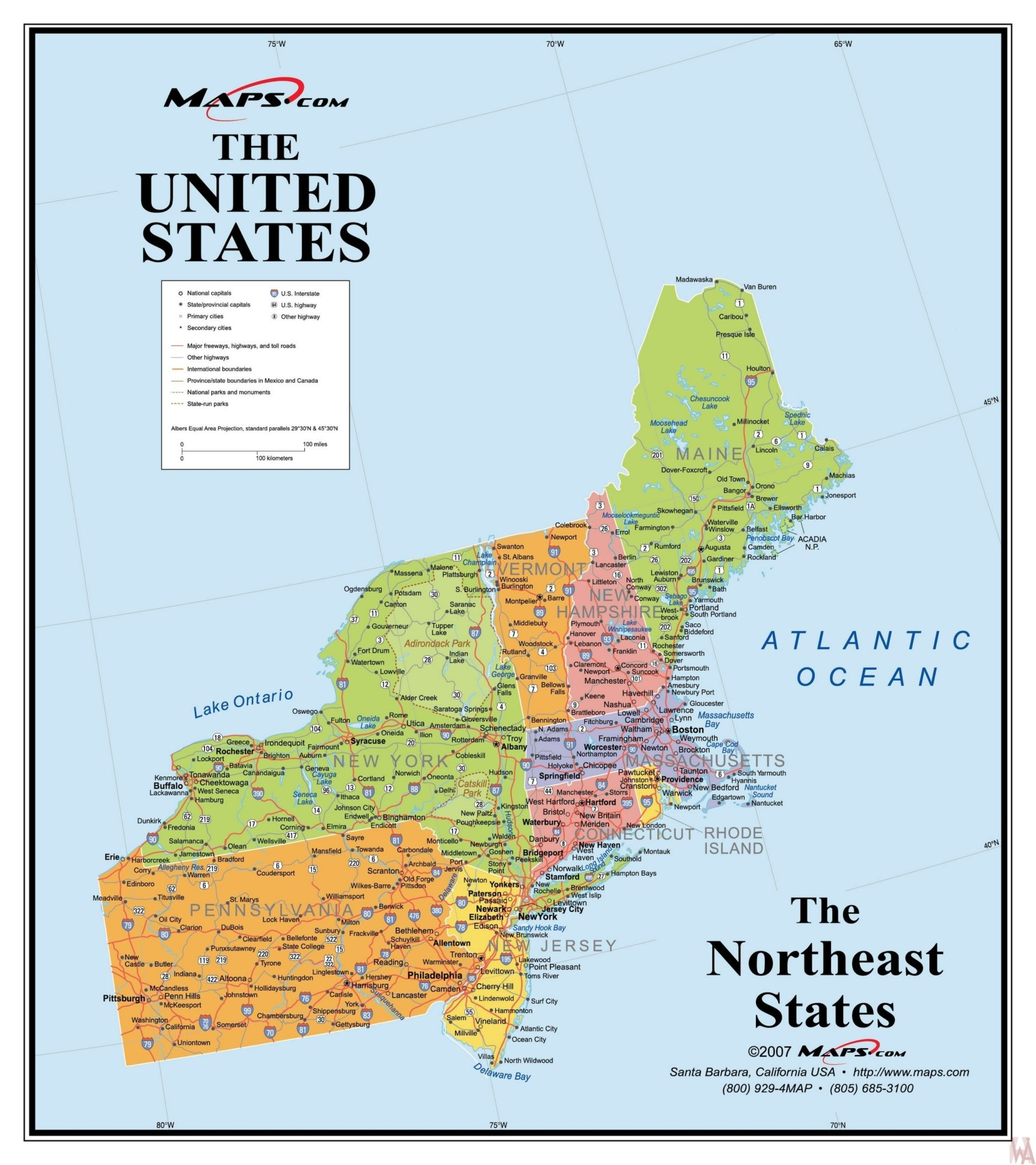 Picture of: The Northeast Usa Map By Maps Com Whatsanswer