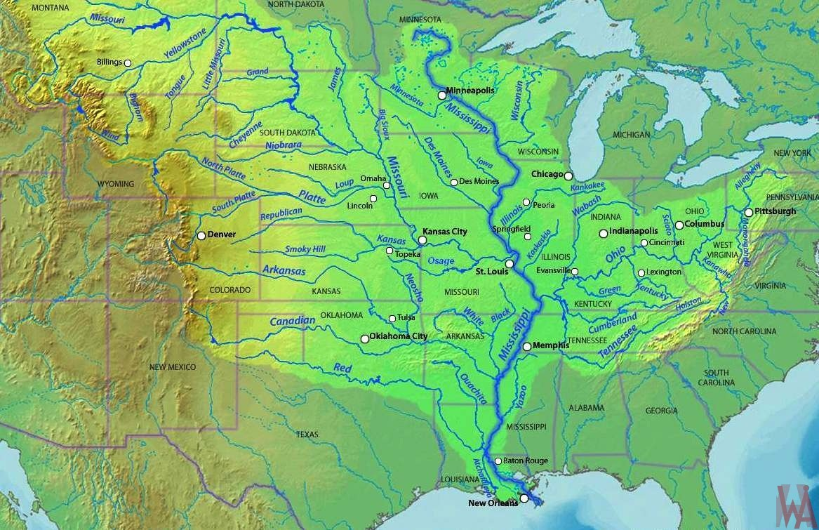 Map Of America Mississippi River.Mississippi River Map Of The Usa Whatsanswer