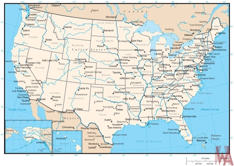 United States Rivers water flows map 1 | WhatsAnswer