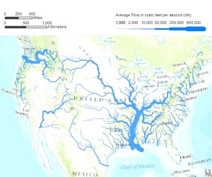 United States  Rivers water flows map