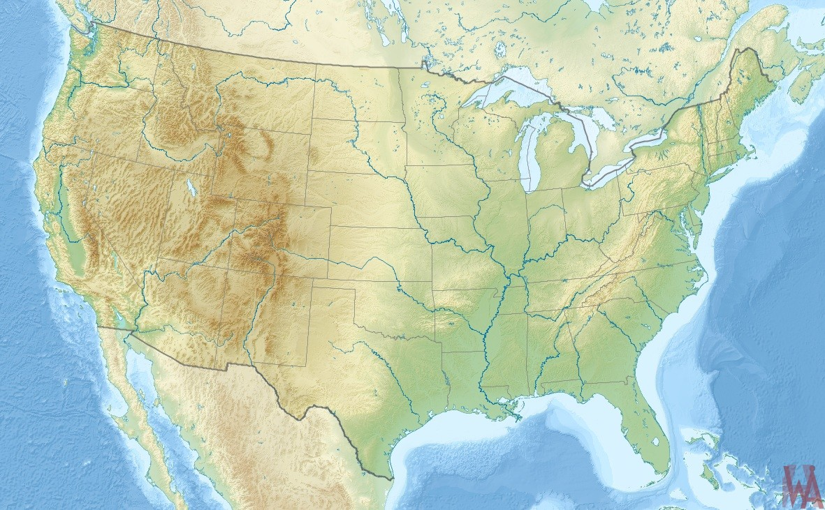 United States wall Map Physical, Geographical Rivers Mountain map