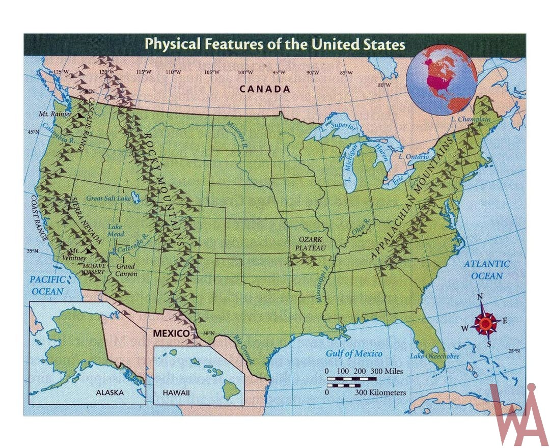 detailed physical features map of the united states | WhatsAnswer