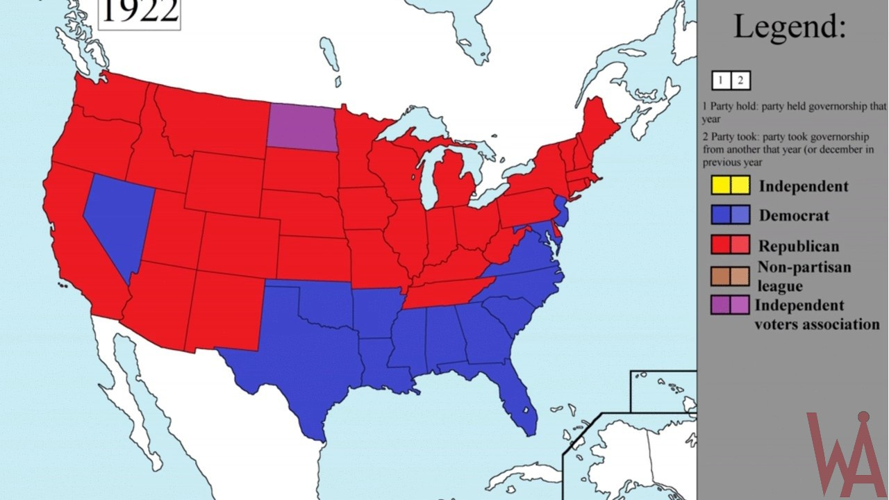 election map of the USA.1922