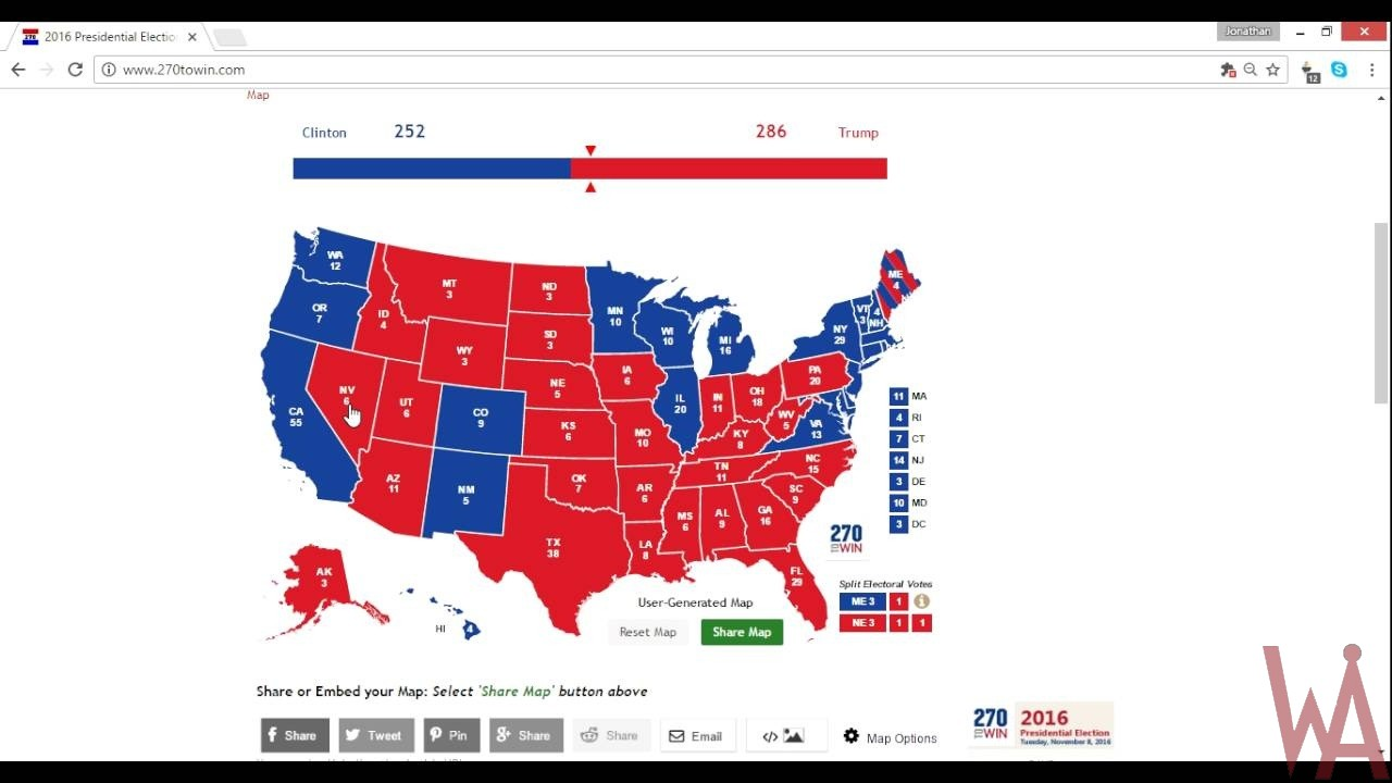 election map of the USA.2016