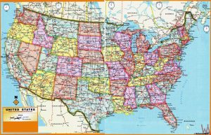 high resolution political administrative divisions map of the USA 1