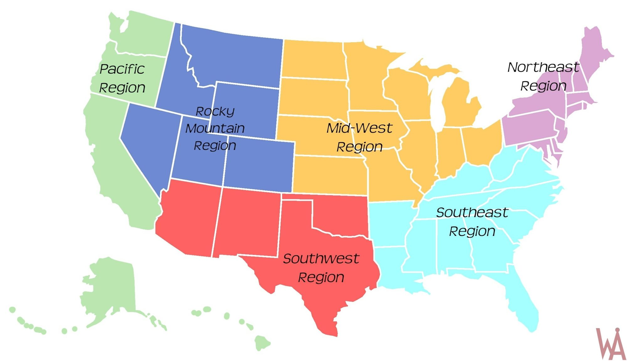 Picture of: Region Maps Of The Usa Whatsanswer