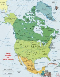 north america  political wall map