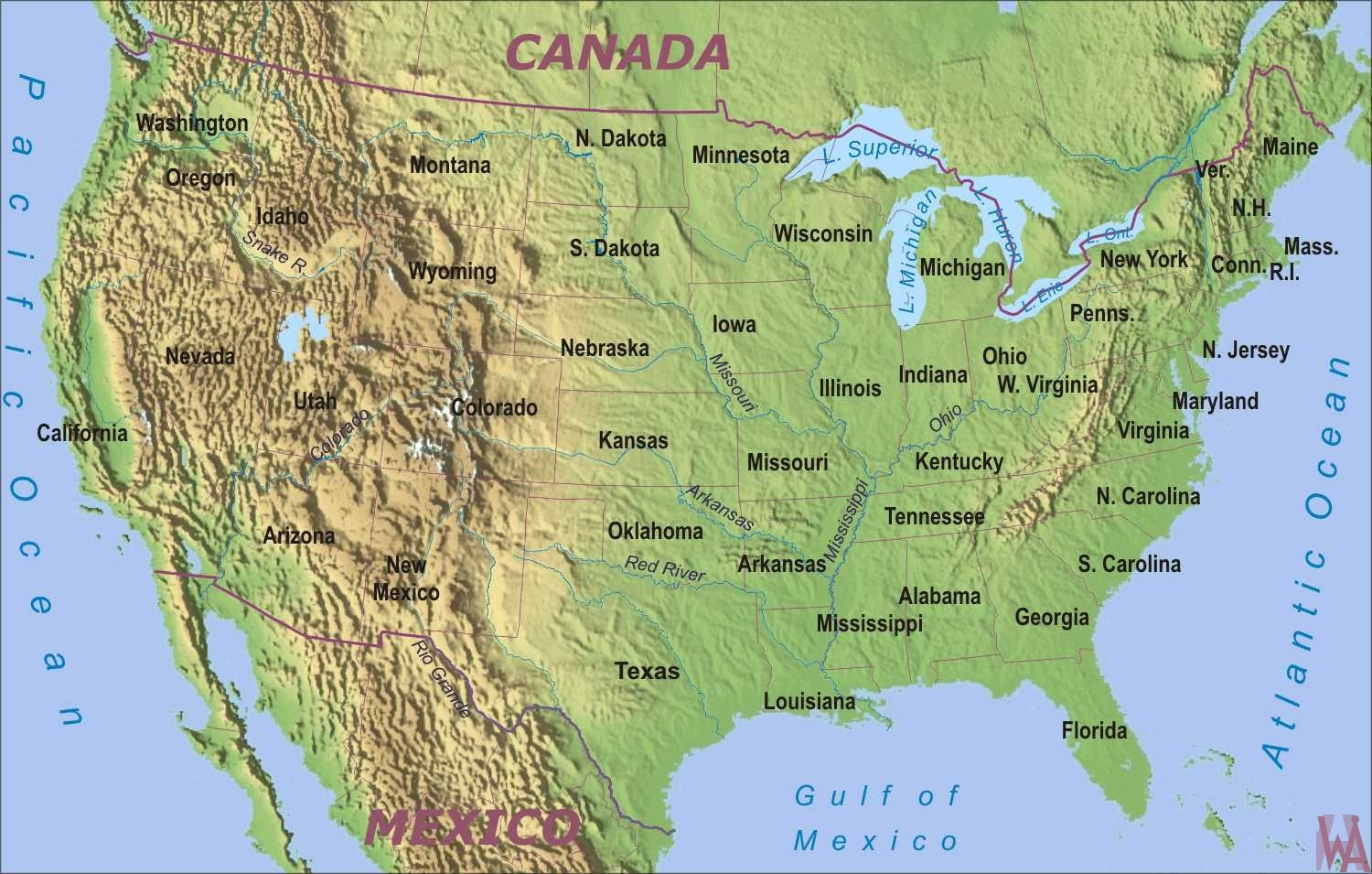 physical geographical map of usa with rivers and mountains | WhatsAnswer