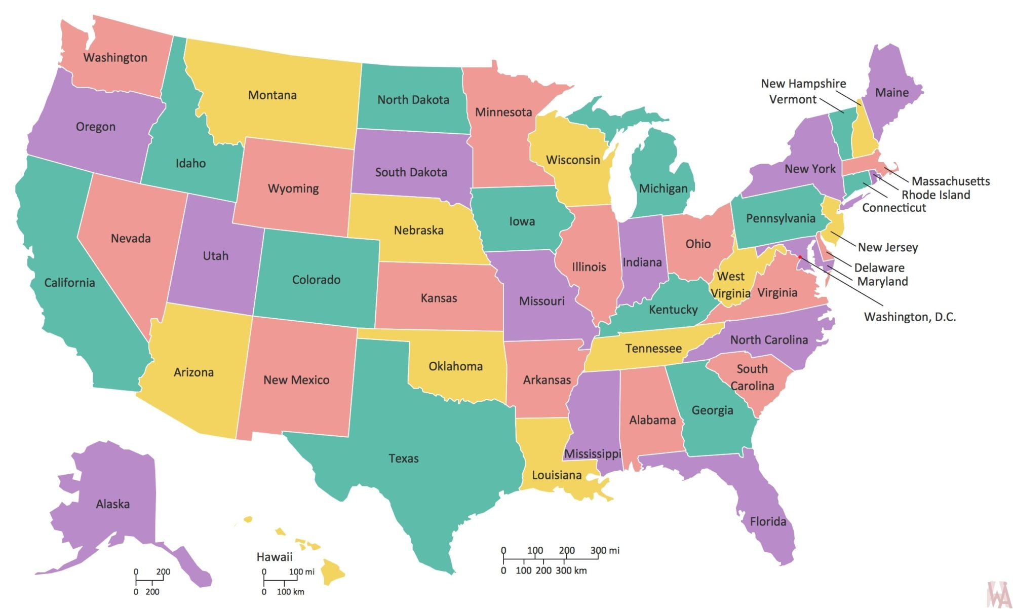States And Major Cities Map of The USA