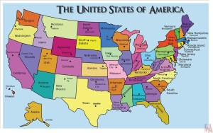 political map of the USA with Capital