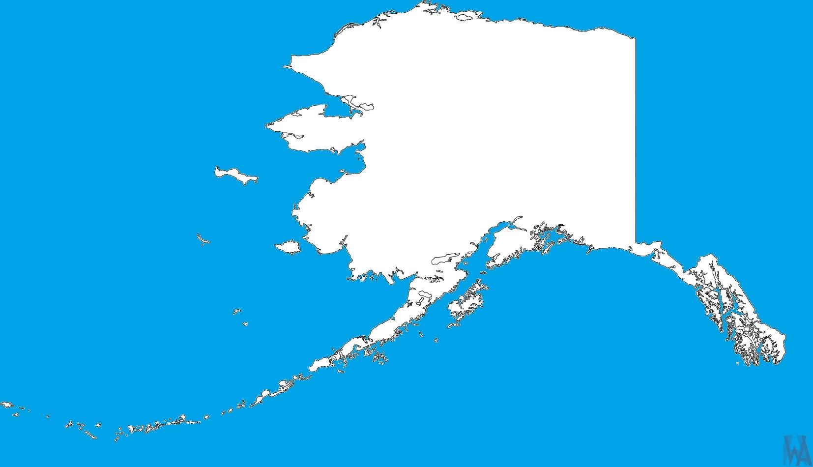 Alaska Blank Outline Map  | Blank Outline Map of Alaska