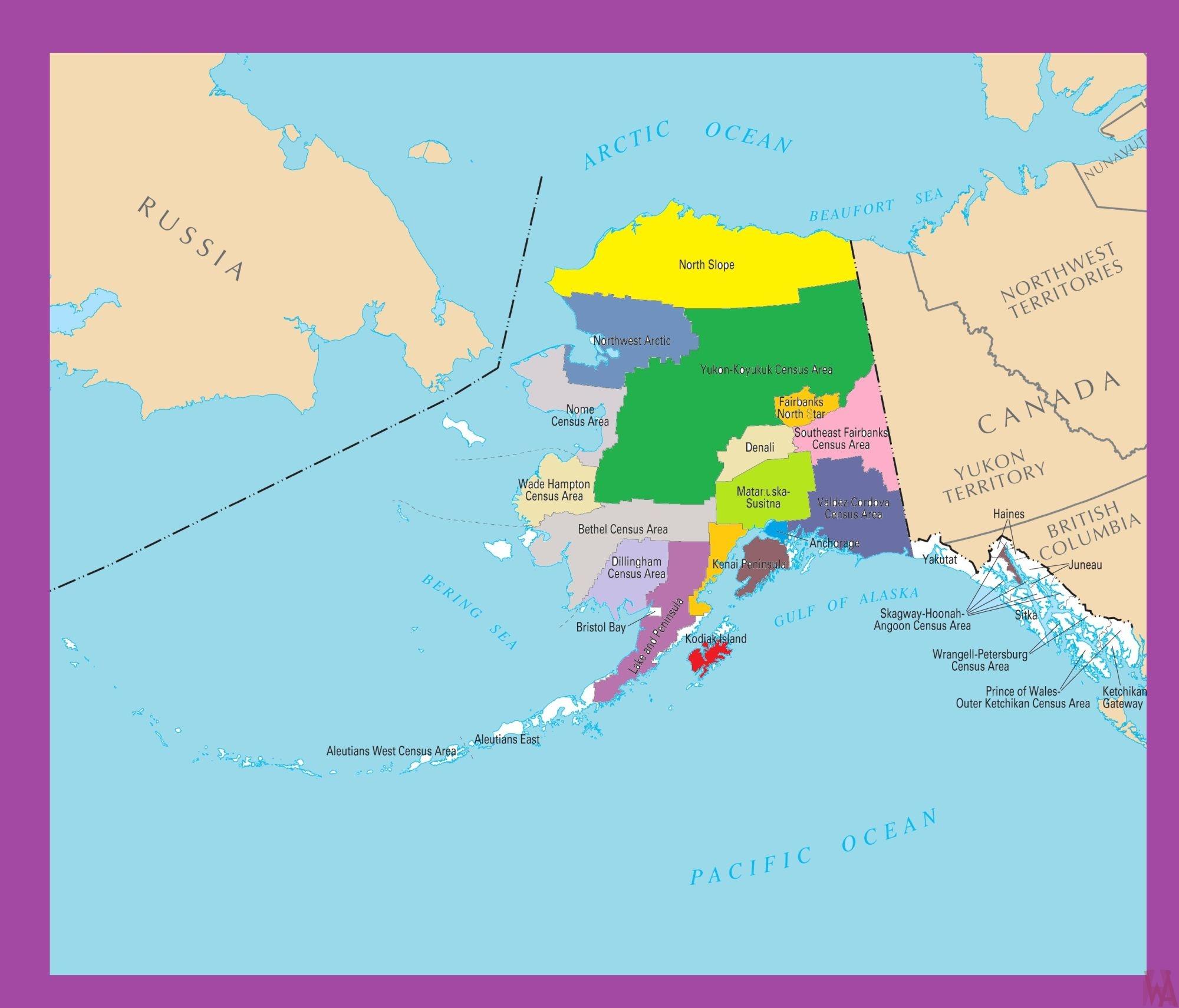 Alaska Color County Map    Color County Map of Alaska -2