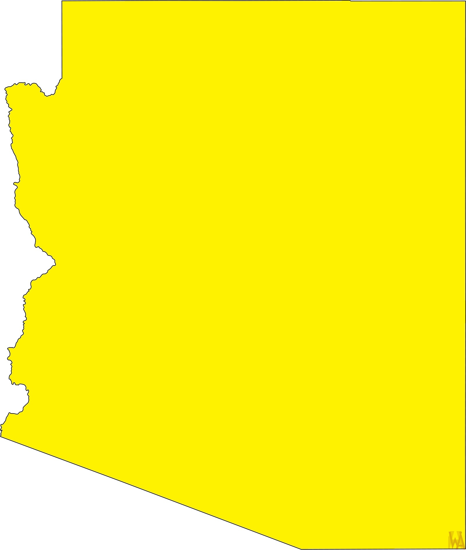 Arizona Blank Outline Map | Blank Outline Map of Arizona