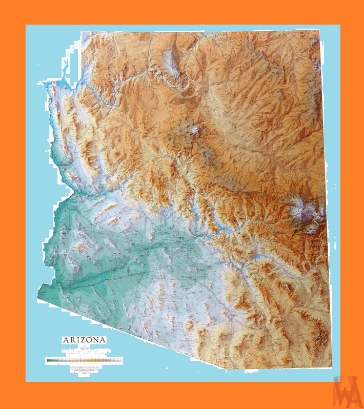 Geographical Map Of Arizona.Arizona Geographical Map Geographical Map Of Arizona Whatsanswer