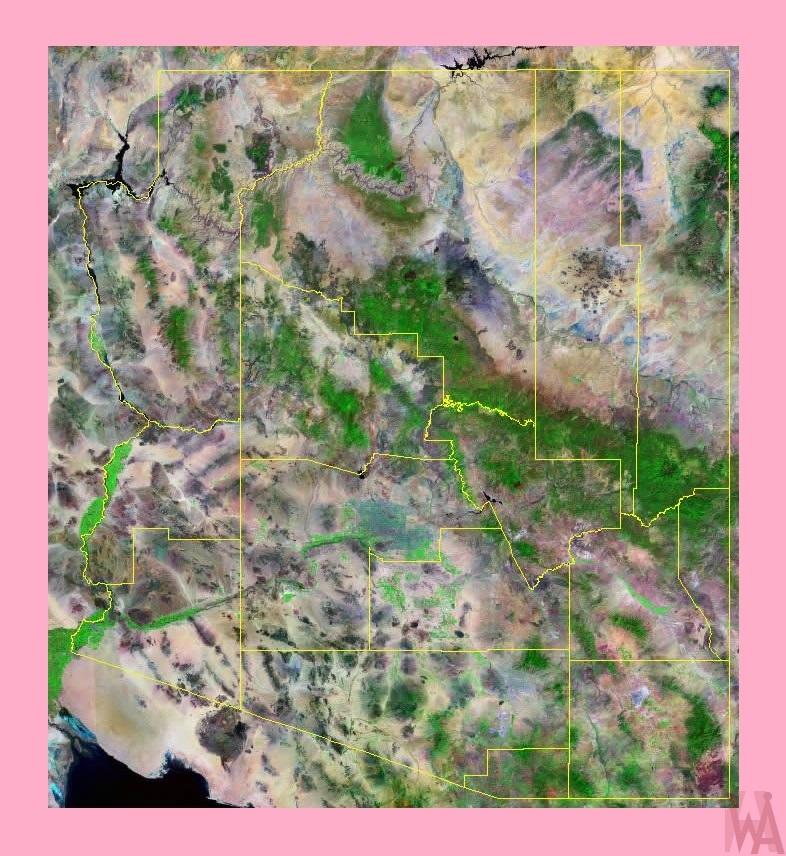 Arizona Satellite Map     Satellite  Map of Arizona =2