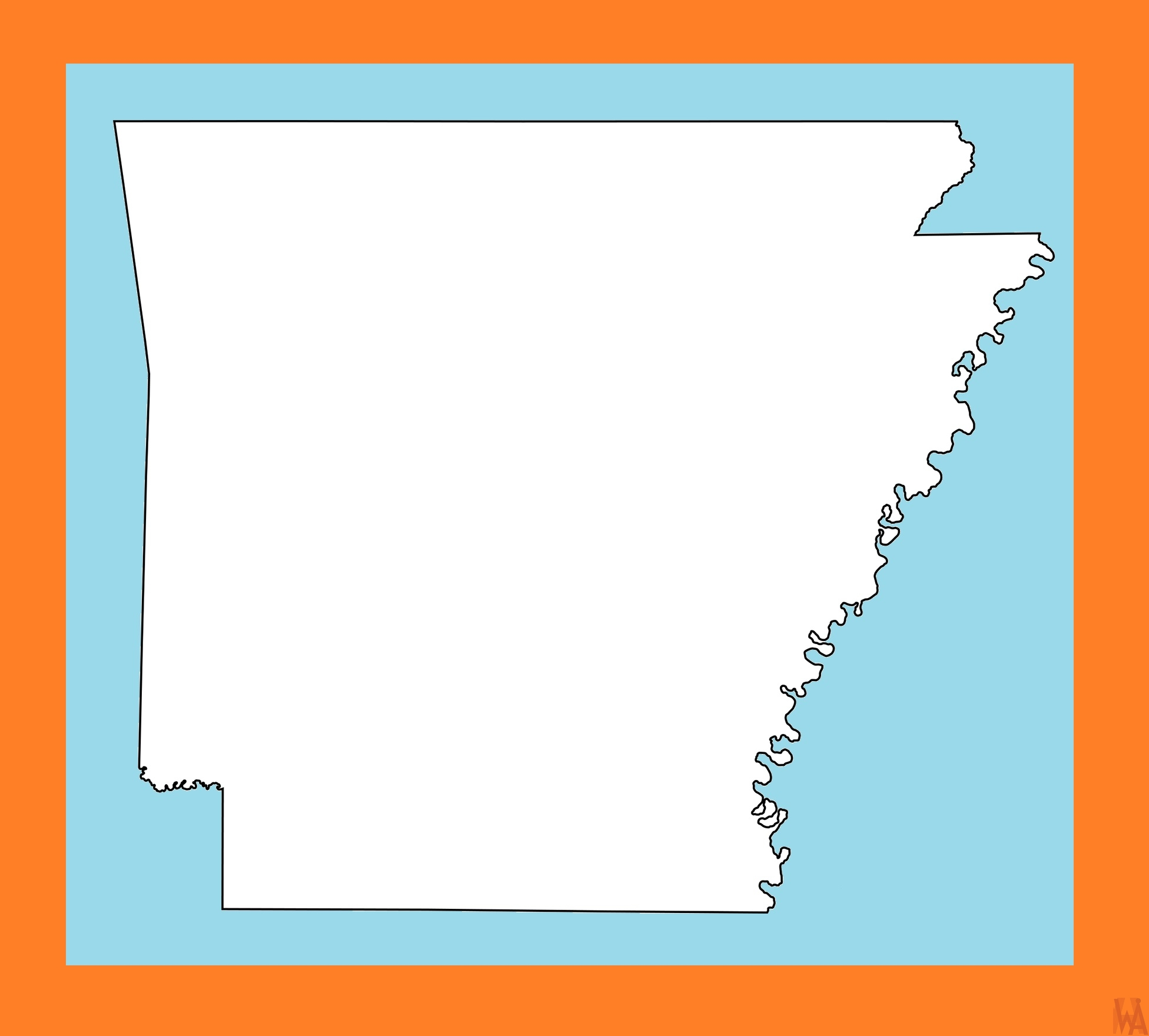Arkansas Blank Outline Map  | Blank Outline Map of  Arkansas