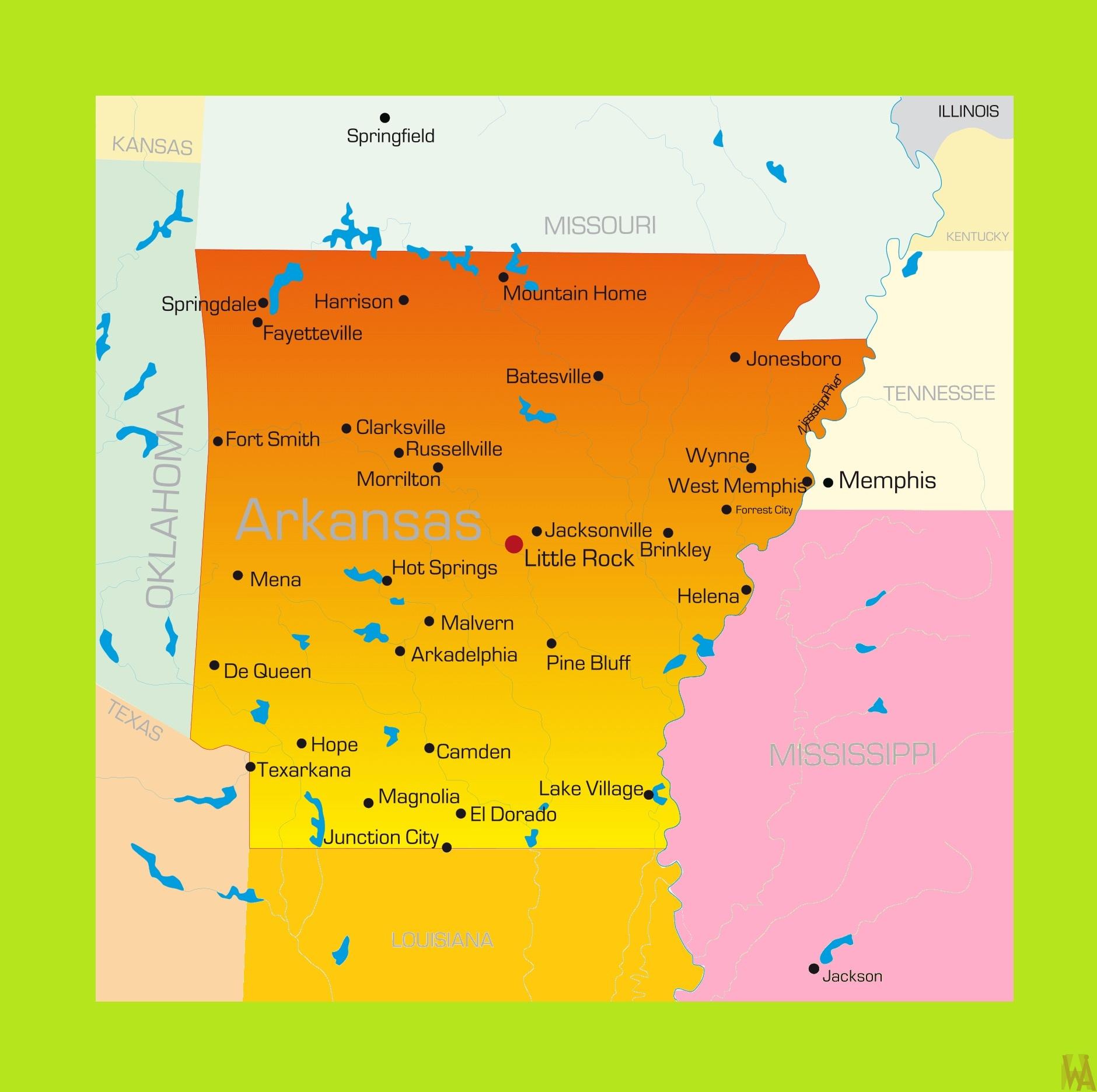 Arkansas Detailed  Map    Detailed  Map of  Arkansas
