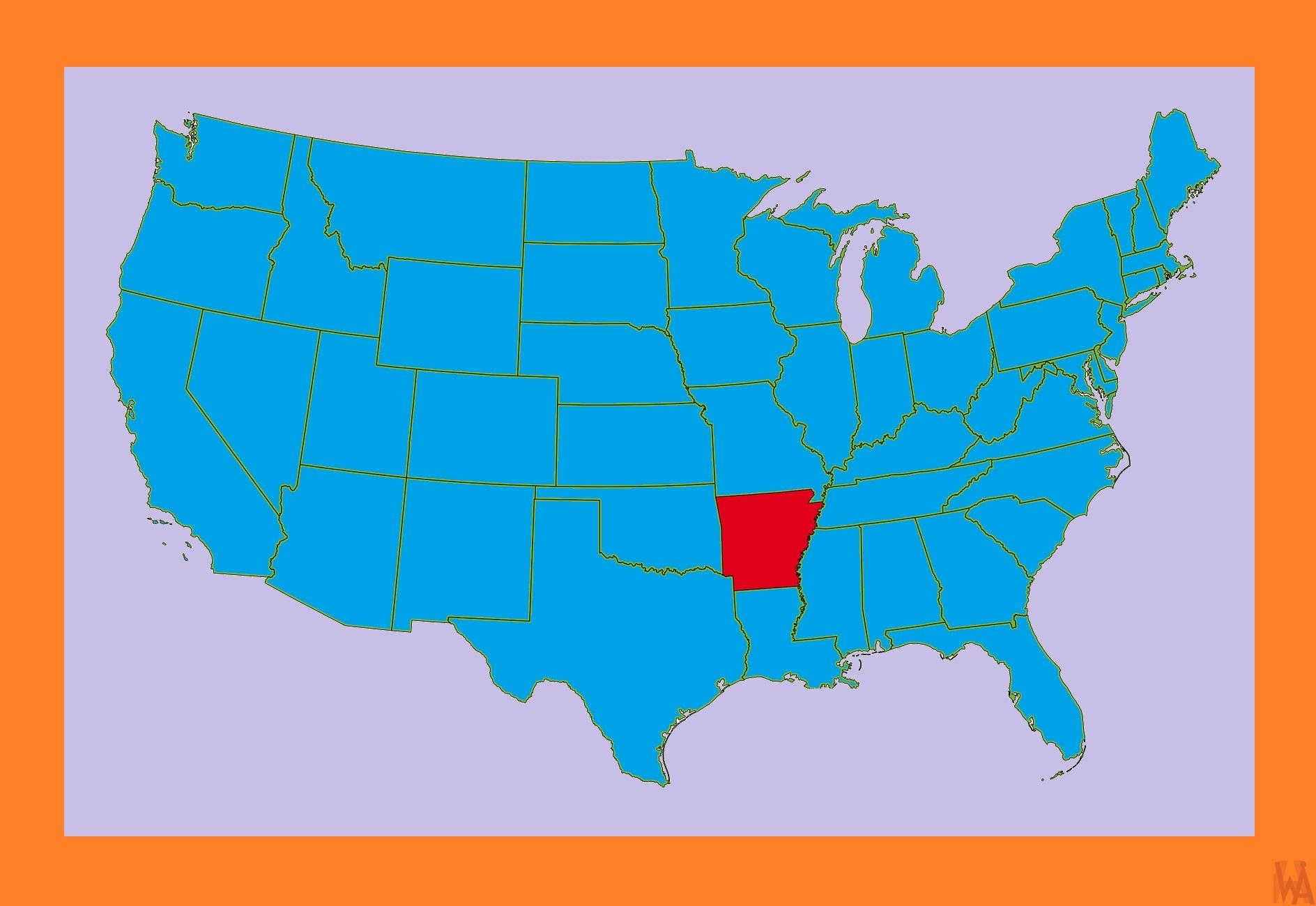 Arkansas Location  Map-1  |  Location  Map of  Arkansas