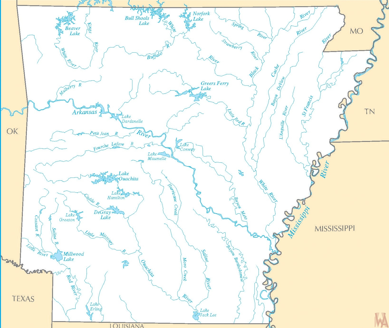 Arkansas River Map-1 |    River  Map of  Arkansas