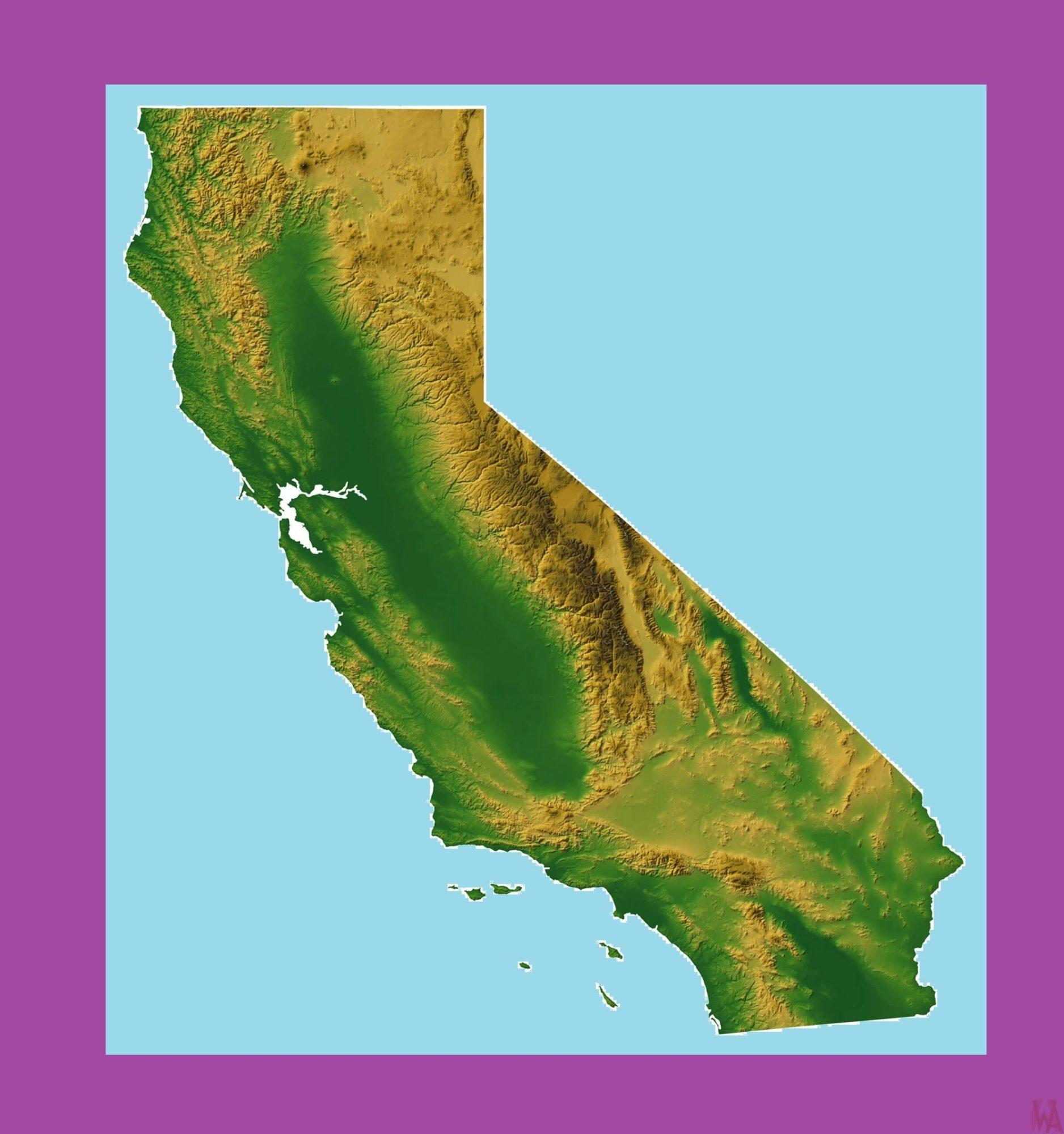 California Topographical  Map | Topographical  Map of California