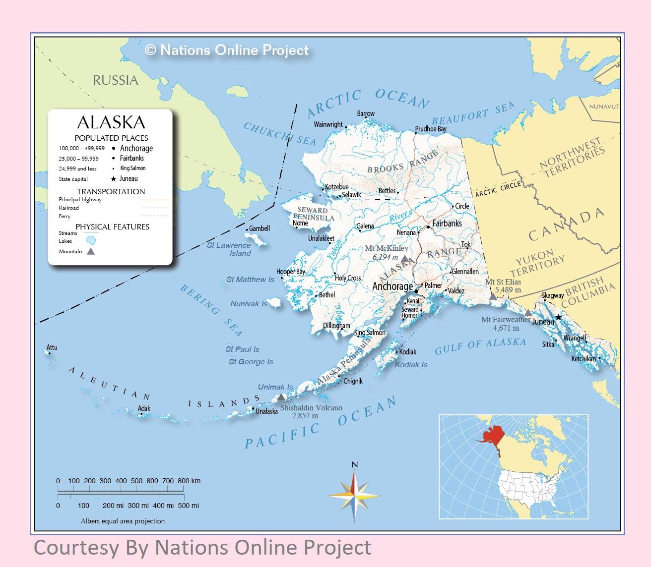 Alaska Transportation and physical map large printable
