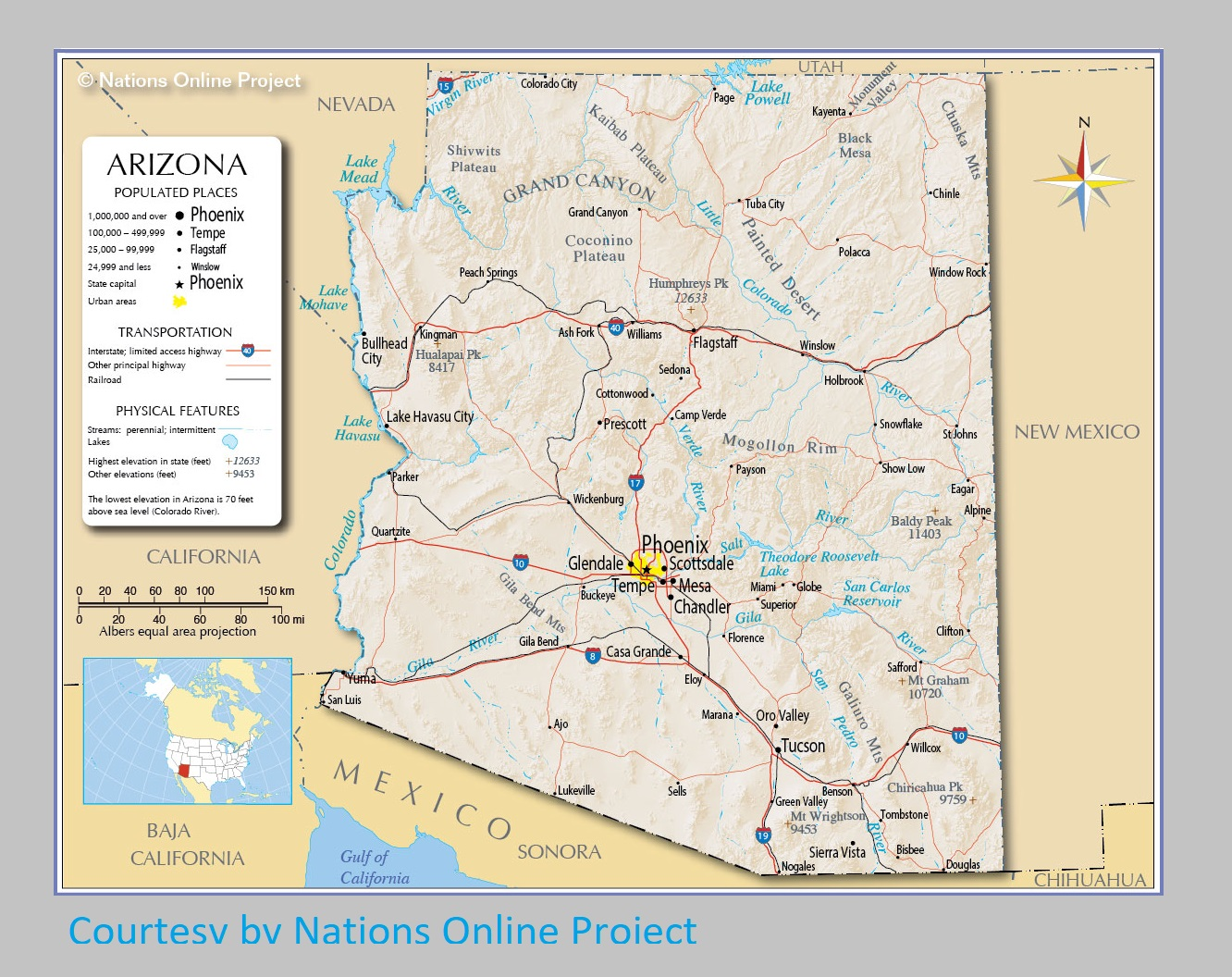 Arizona Transportation and physical map large printable