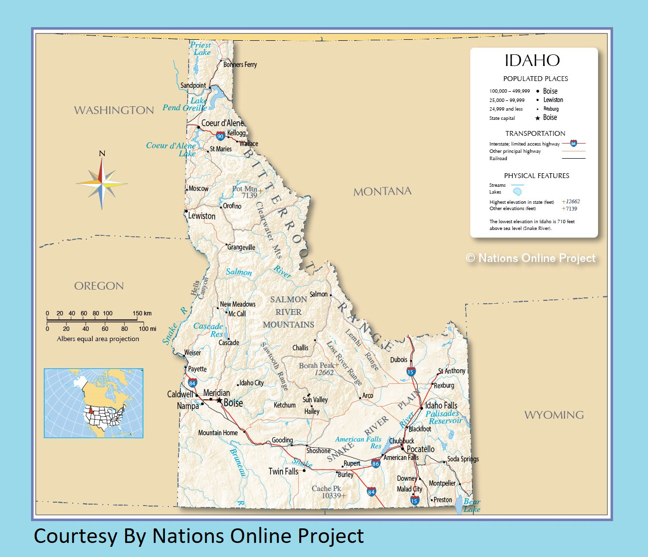 photo relating to Printable Map of Idaho known as Idaho Transport and bodily map major printable