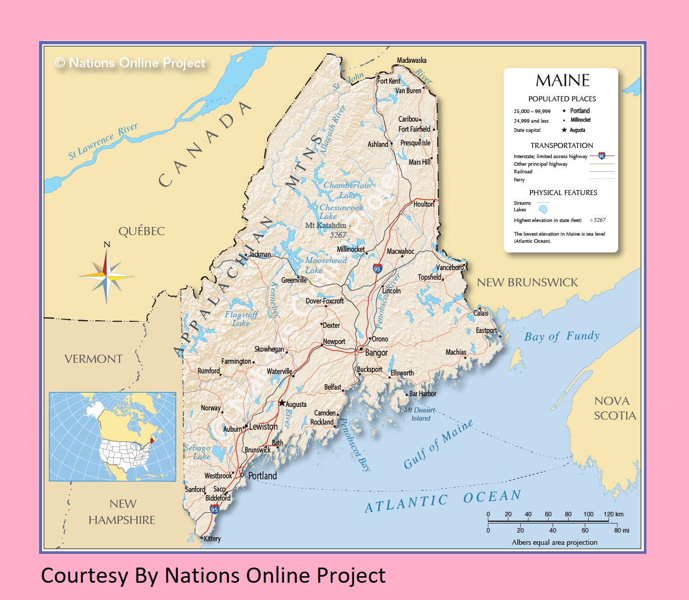 Image of: Maine Transportation And Physical Map Large Printable Whatsanswer