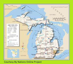 Michigan Transportation and physical map large printable