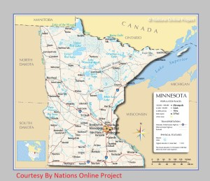 Minnesota Transportation and physical map large printable