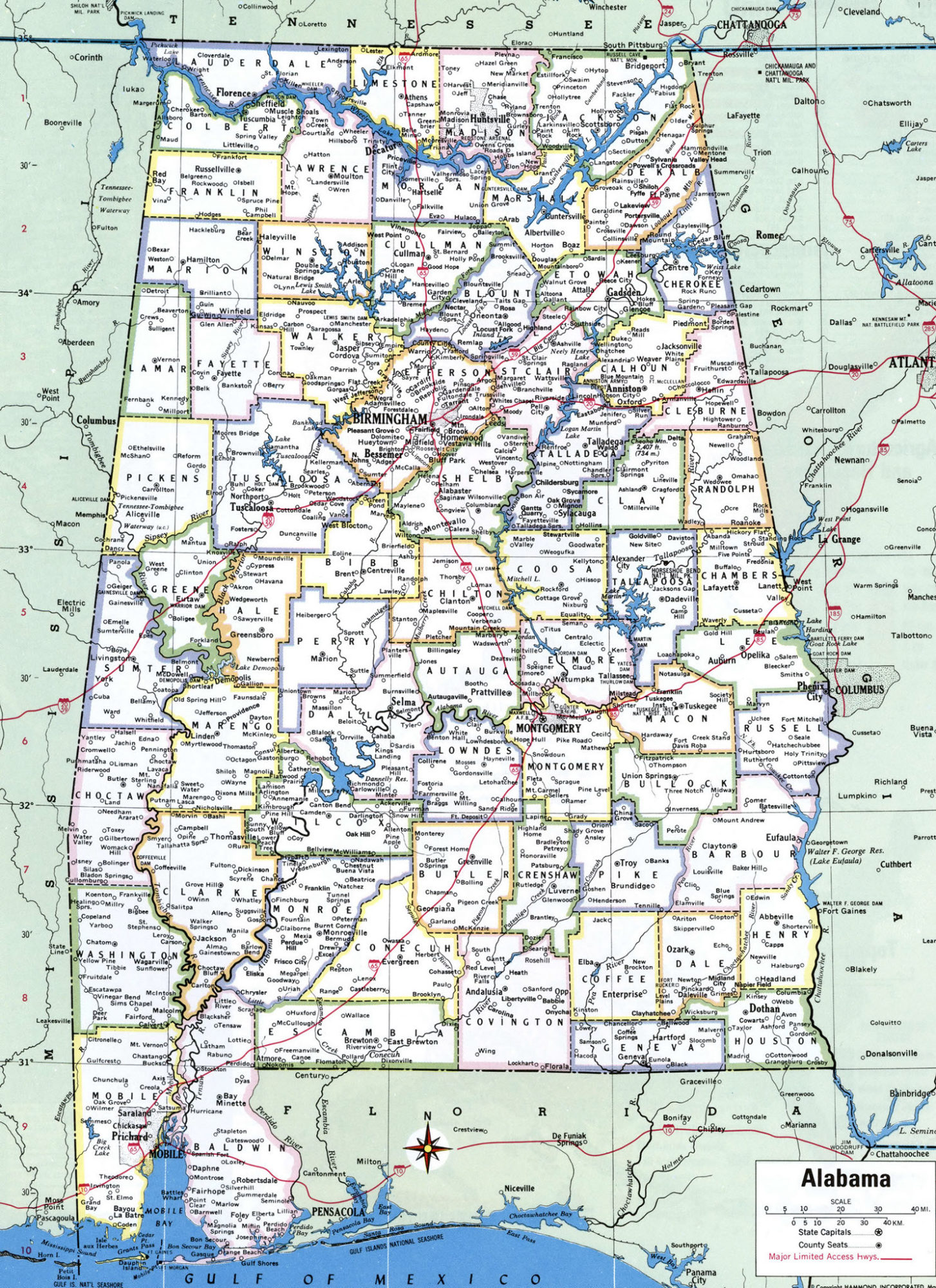 Alabama Large Political  Map   Political  Map of Alabama With Capital , city and River lake-6