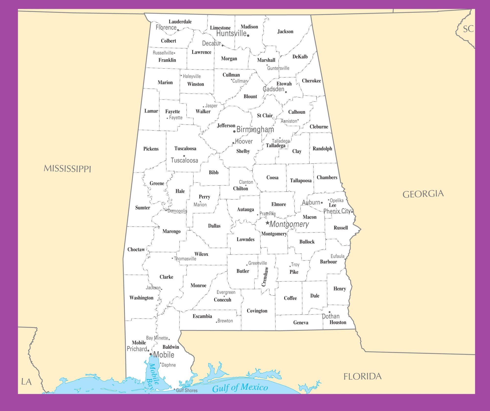 Alabama  County Map    County Map of Alabama