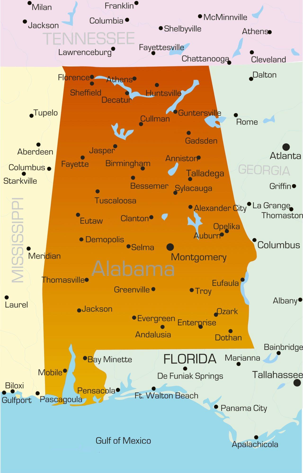 Alabama High-Resolution Physical Map   Large Printable HD  Map