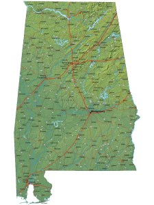 Alabama High-Resolution Physical Map | Large Printable HD  Map Detailed