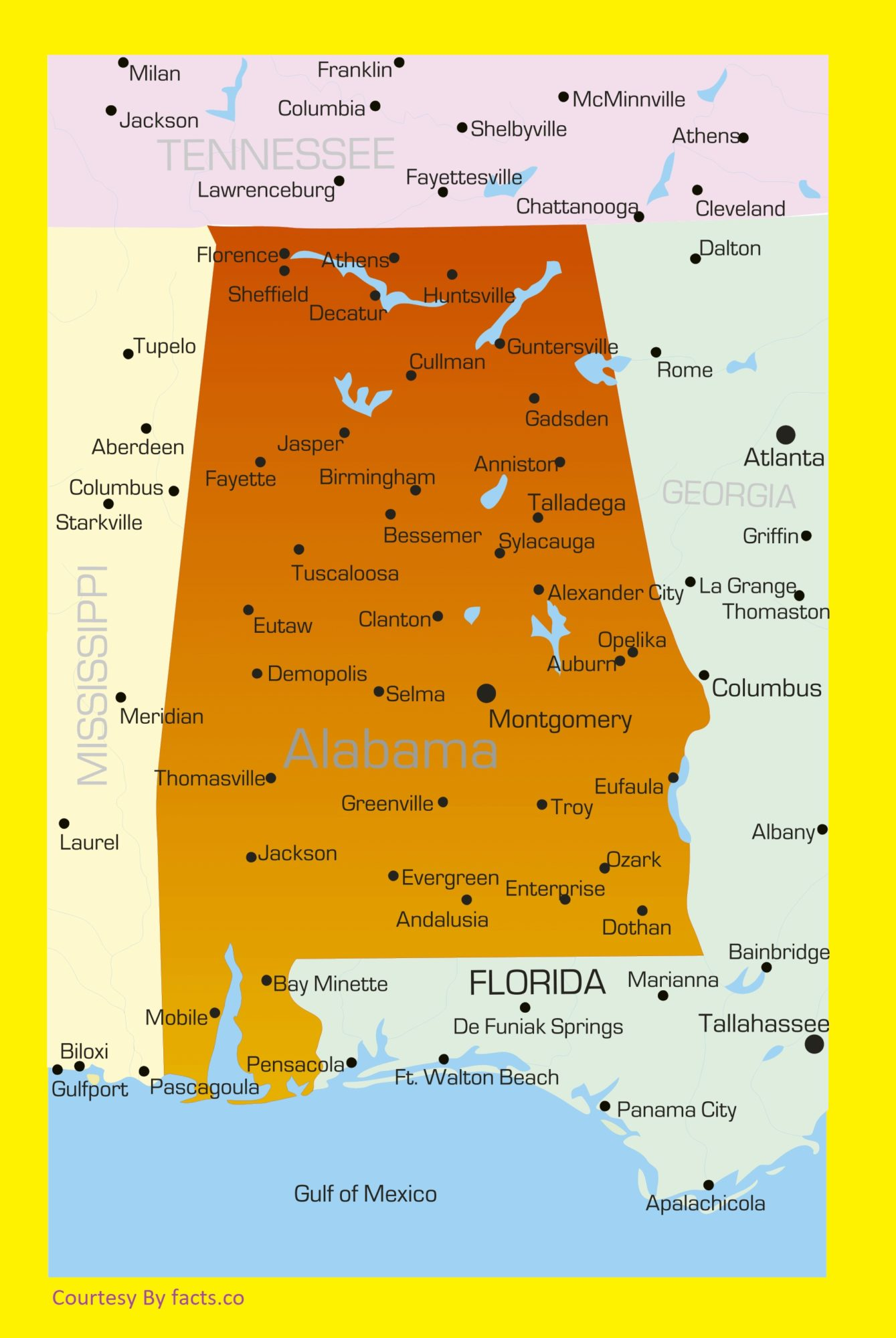 Alabama Large Detailed Label Map | Large Detailed Label Map of Alabama
