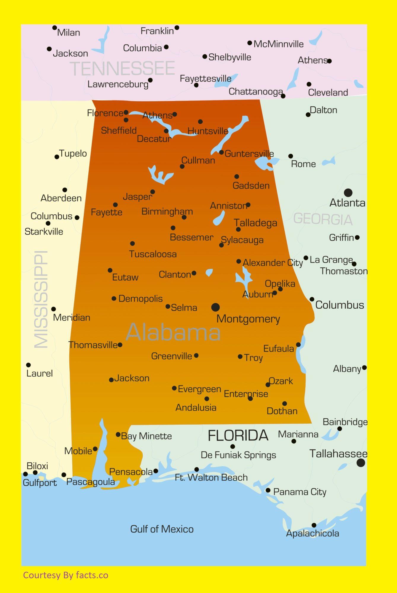 Alabama Large Detailed Label Map | Large Detailed Label Map of Alabama