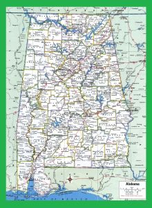 Alabama Large Highway Map | Alabama-City-County-Political Large Highway Printable Map