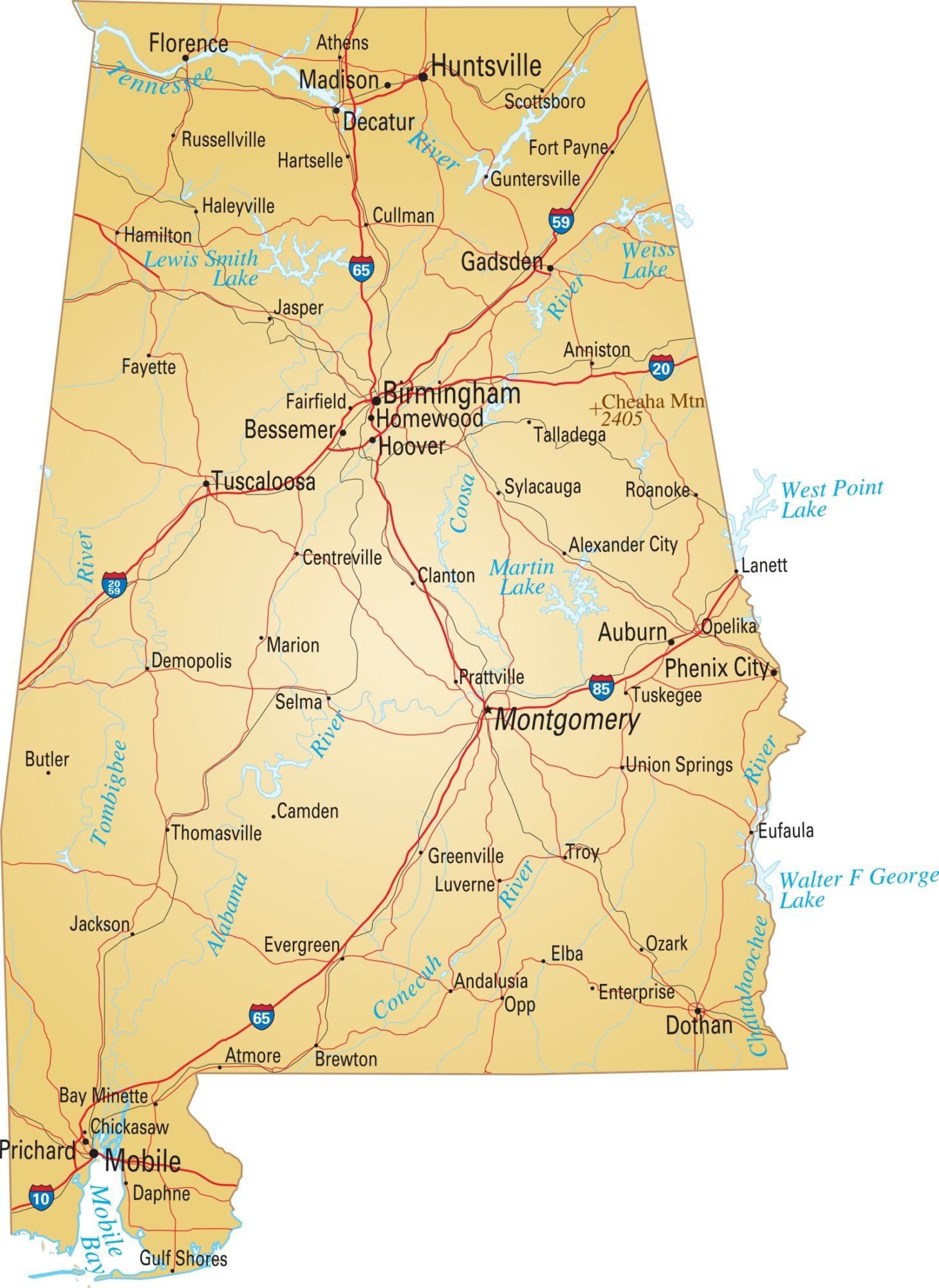 Alabama River  Map  | River   Map of Alabama Large Printable