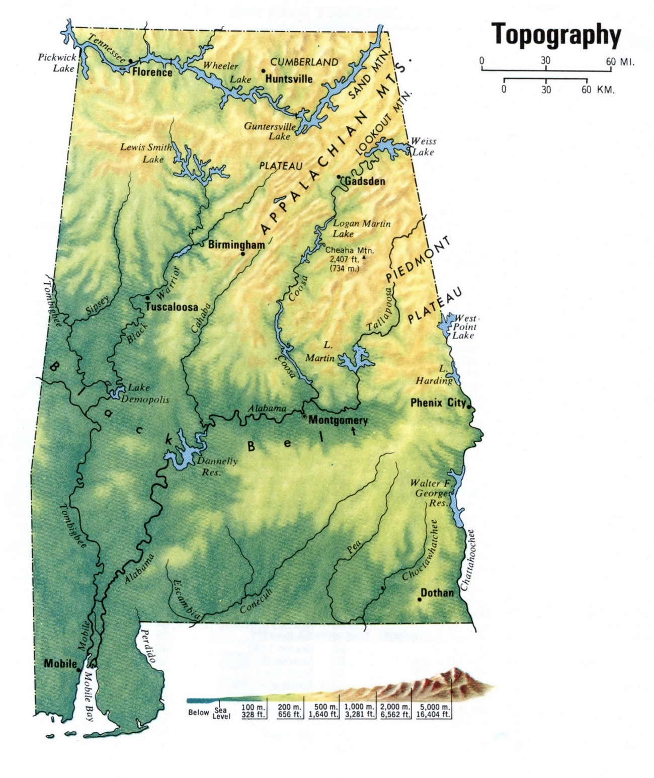 Alabama Topography  Map    Topography  Map of Alabama Large and Attractive