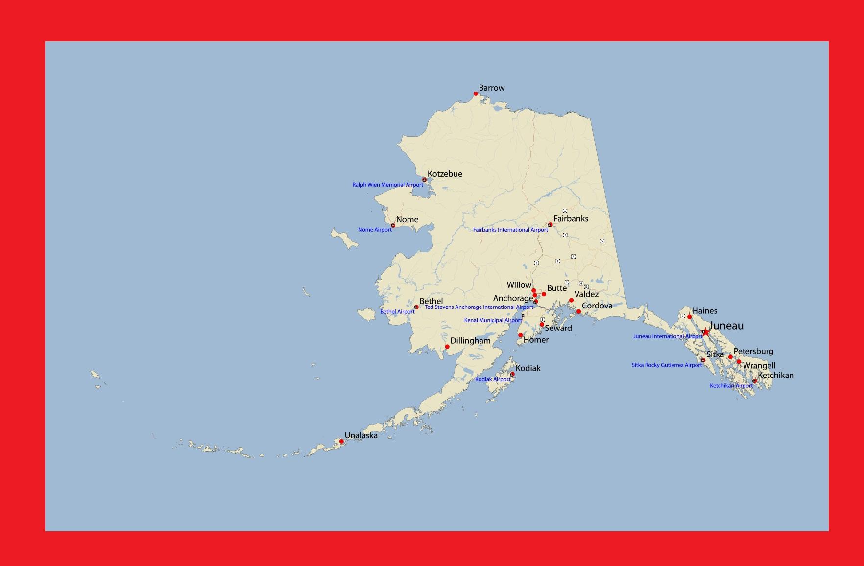 Alaska Detailed Map    Detailed Map of Alaska Large Printable