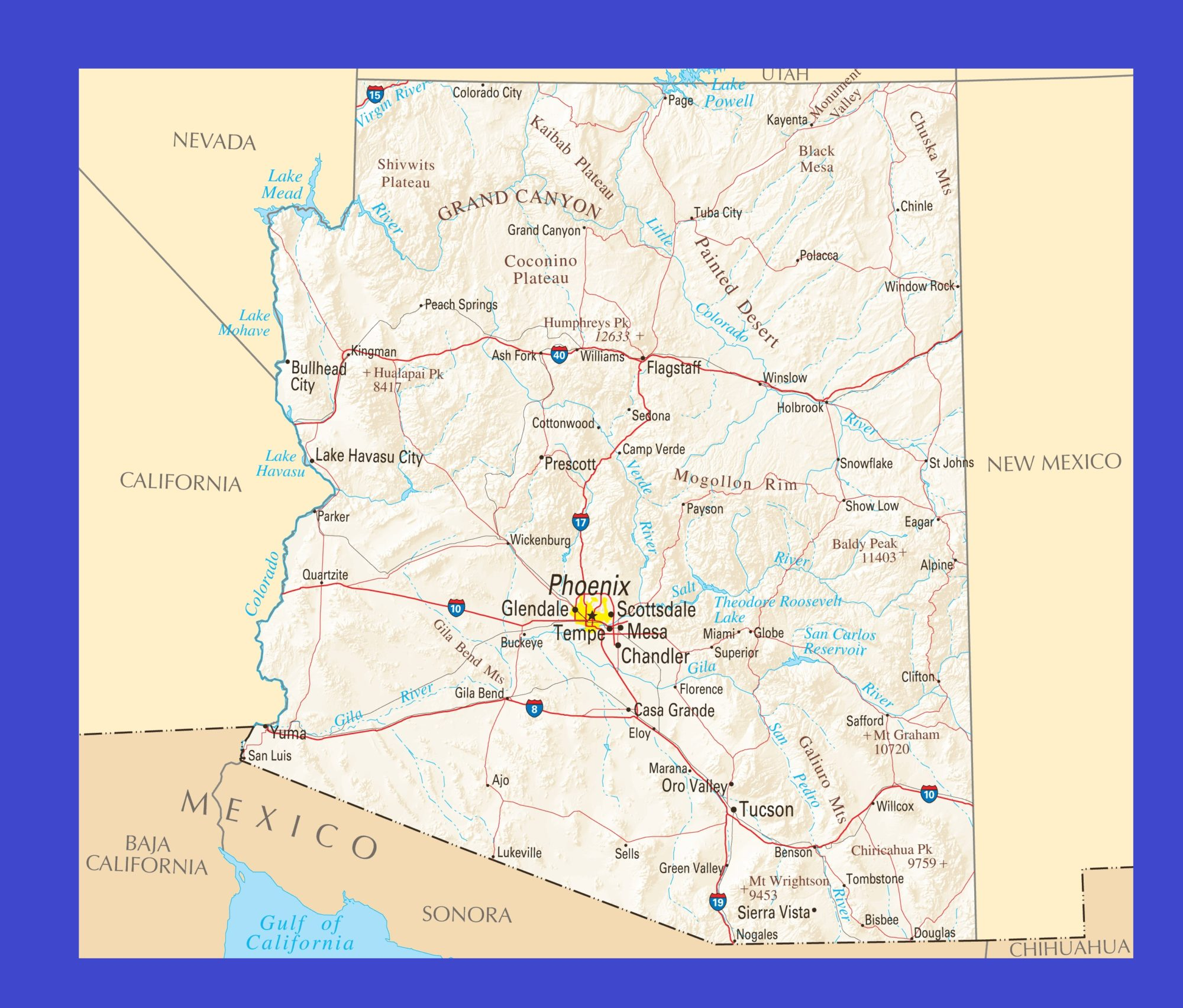 Map of Arizona | Political, Physical, Geographical, Transportation, And Cities Map