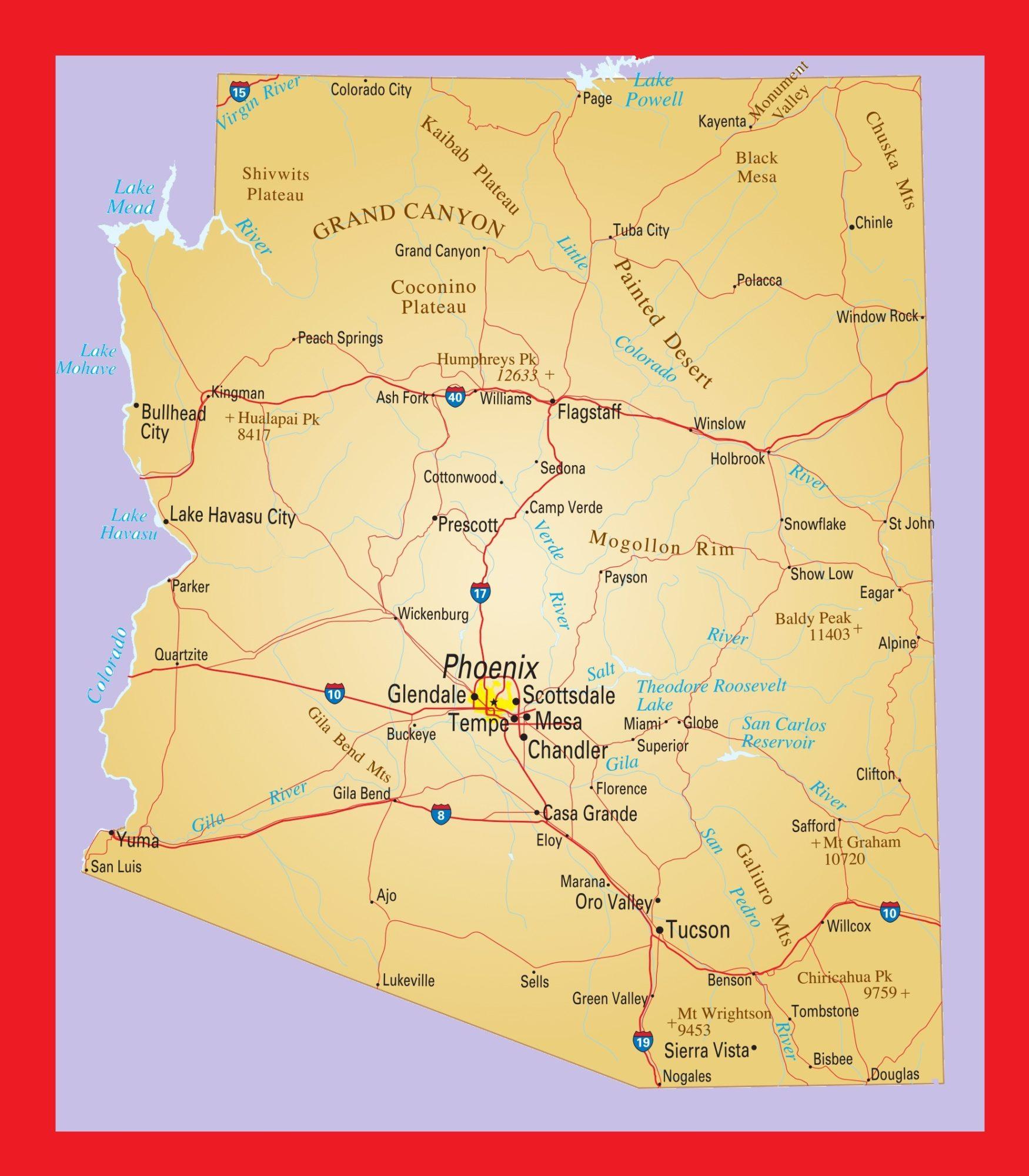photograph regarding Printable Map of Arizona named Arizona Political Map Major Printable and Regular Map 3