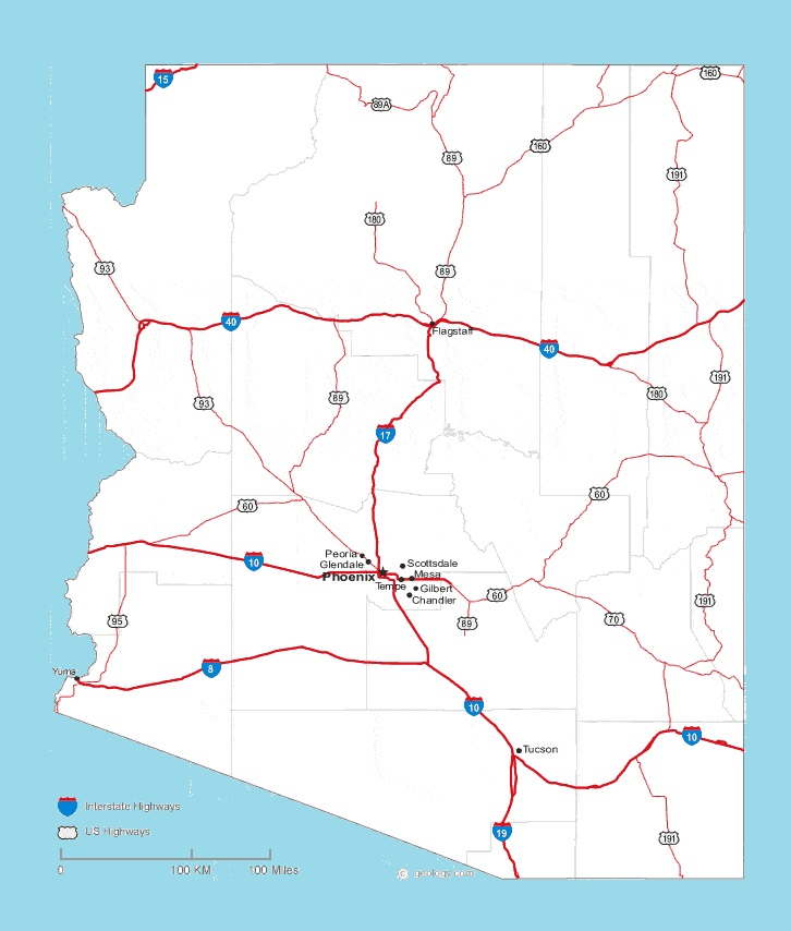 Arizona Road Map | Large Printable and Standard Map ...