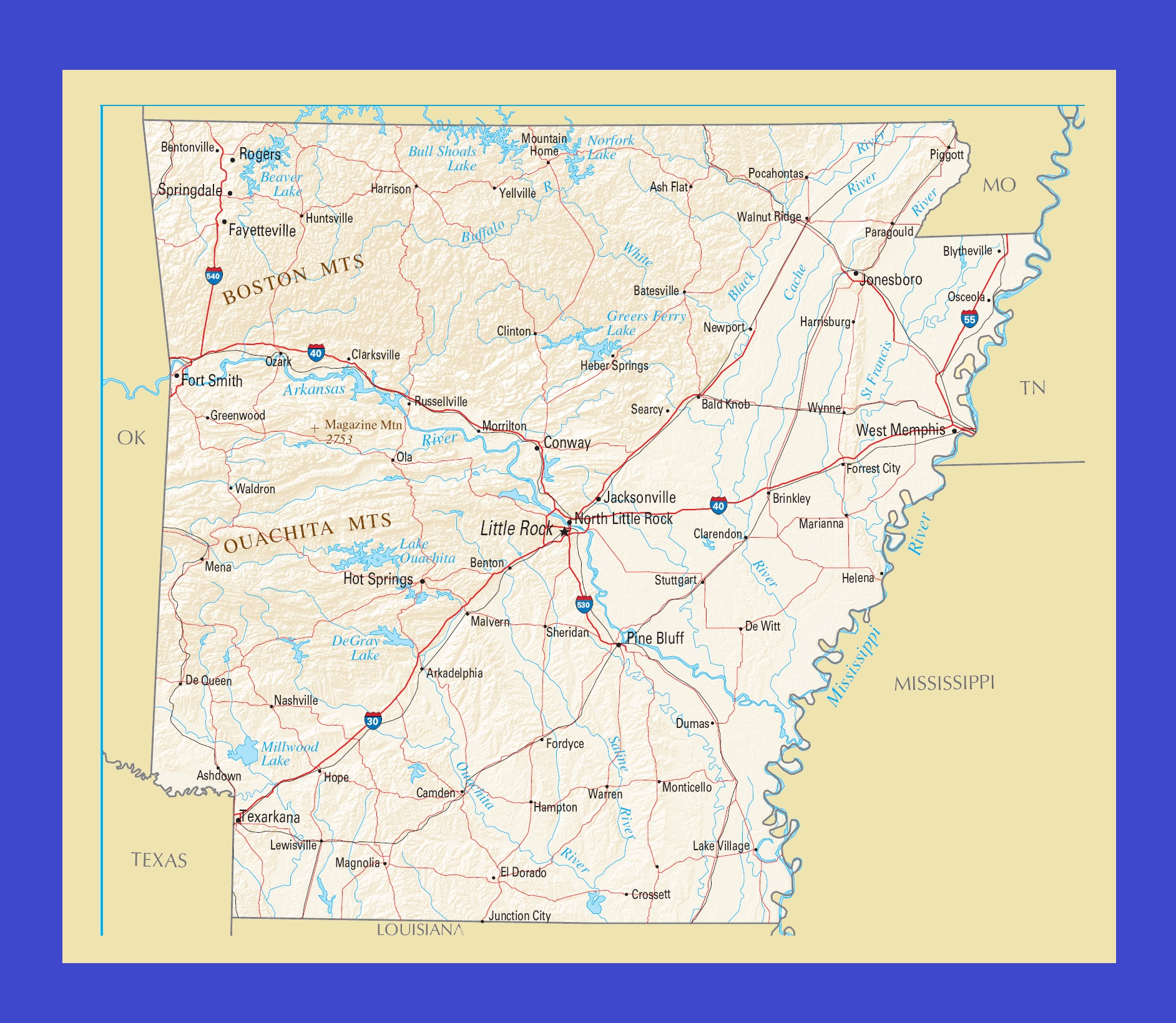 Arkansas Political Map   Large Printable and Standard Map