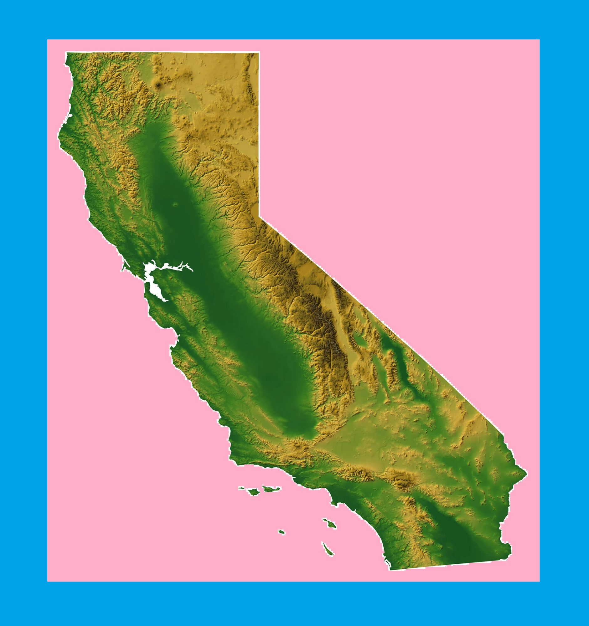 California Physical Map | Large Printable and Standard Map