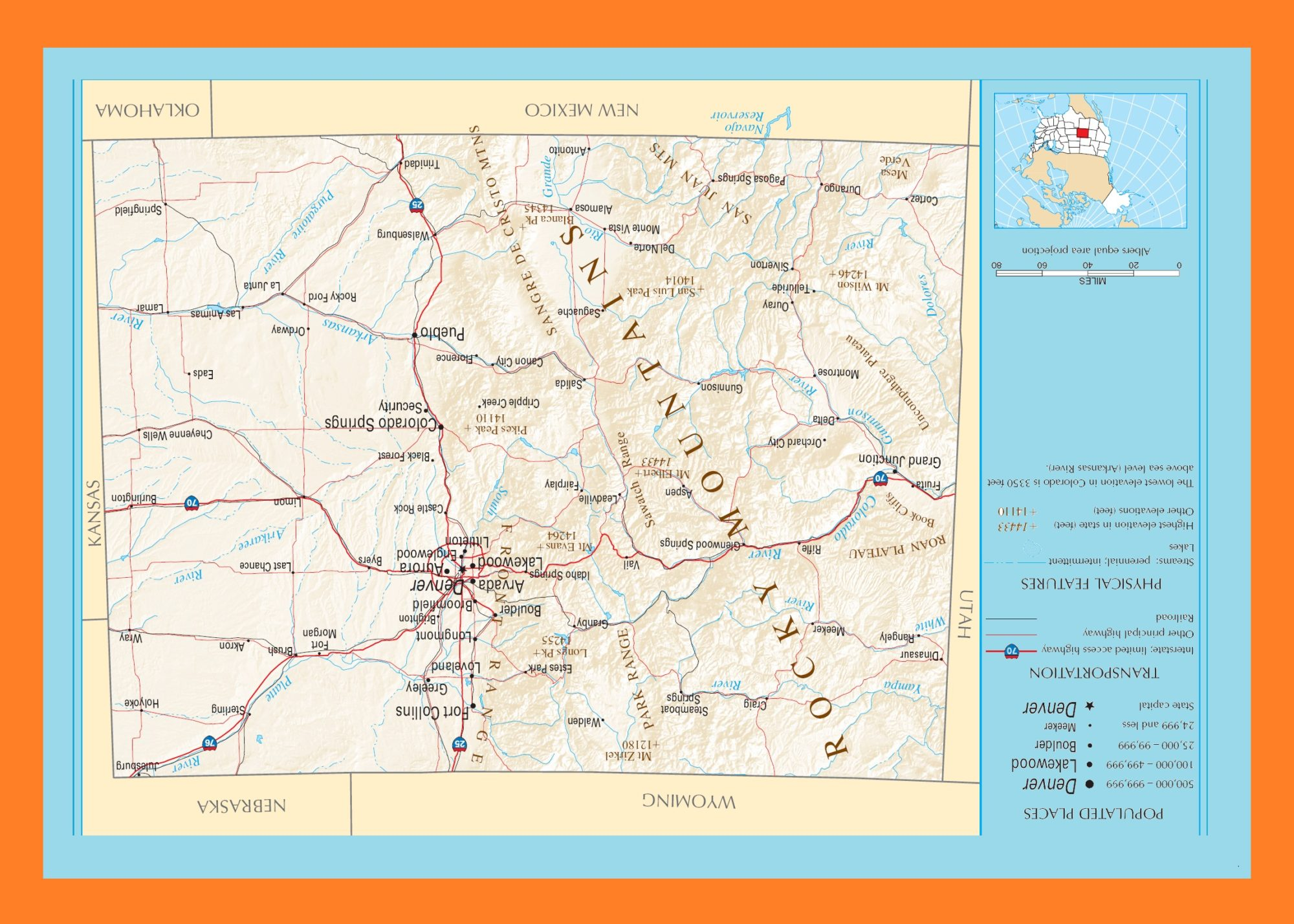 Colorado Political Map   Large Printable and Standard Map