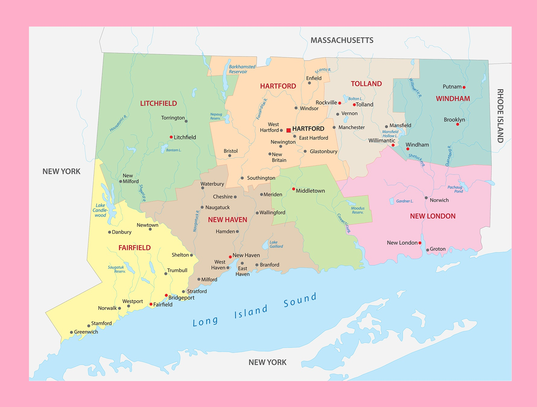 Connecticut County Map | Large Printable and Standard Map